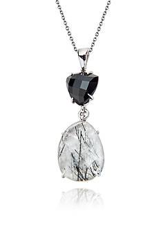 Belk & Co. Sterling Silver Rutilated Quartz and Black Onyx Pendant