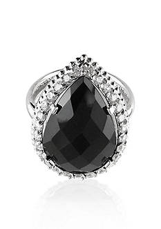 Belk & Co. Sterling Silver Black Onyx and Diamond Ring
