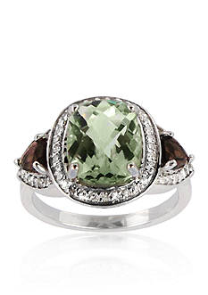 Belk & Co. Sterling Silver Green Amethyst, Smokey Topaz, and Diamond Ring