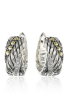 Effy Diamond Hoop Earrings in Sterling Silver with 18k White Gold