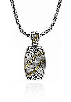 Effy Diamond Pendant in Sterling Silver with 18k Yellow Gold