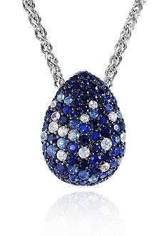Effy Sterling Silver Multicolor Sapphire Tear Drop Pendant