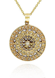 Effy Diamond Filigree Pendant in 14k Yellow Gold