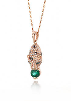 Effy® 14k Rose Gold Emerald and Diamond Panther Pendant