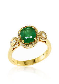 Effy® 14k Yellow Gold Emerald and Diamond Ring