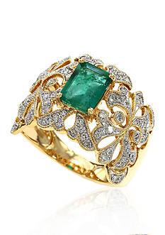 Effy 14k Yellow Gold Emerald and Diamond Band