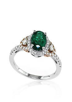 Effy 14k Two Tone Gold Emerald and Diamond Ring