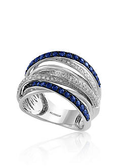 Effy Diamond & Sapphire Ring set in 14K White Gold
