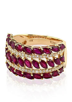 Effy 14k Yellow Gold Ruby and Diamond Marquise Ring