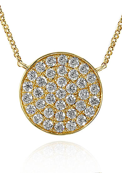 Effy® Diamond Disc Pendant in 14k Yellow Gold