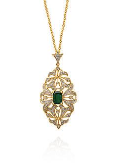 Effy Emerald and Diamond Pendant in 14k Yellow Gold