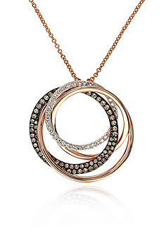 Effy Espresso Diamond Circle Pendant in 14k Rose Gold with Black Rhodium