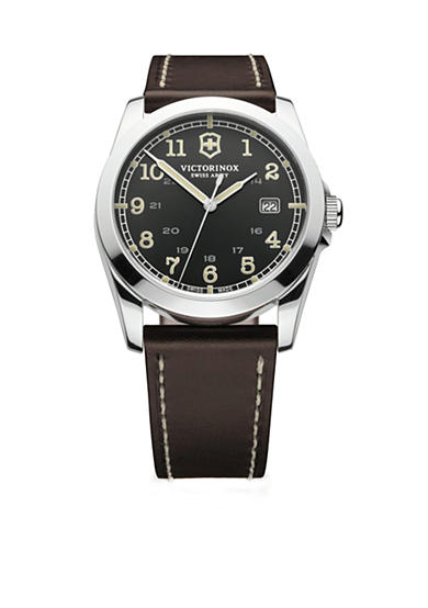 Victorinox Swiss Army, Inc. Infantry Black Dial with Dark Brown Leather Strap Watch