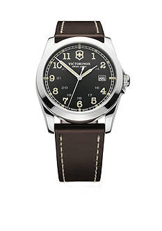Victorinox Swiss Army Infantry Black Dial with Dark Brown Leather Strap Watch