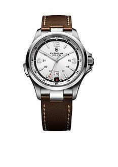 Victorinox Swiss Army Night Vision Silver Dial with Brown Leather Strap Watch