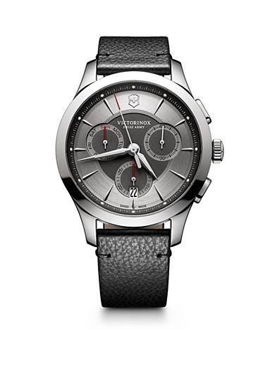 Swiss Army Alliance Chronograph Grey Dial Black Leather Strap