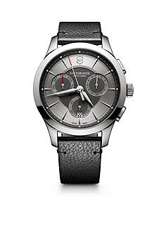 Victorinox Swiss Army, Inc. Alliance Chronograph Grey Dial Black Leather Strap