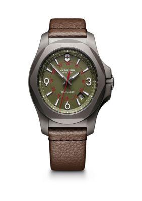 Victorinox Swiss Army  Inc  Titanium I.N.O.X  Olive Brown Leather Watch -  5400118241779