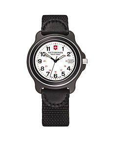 Victorinox Swiss Army Original White Dial Black Bezel Nylon Strap Watch