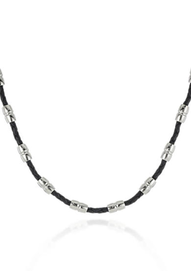 Belk & Co. Men's Black Leather and Stainless Steel Necklace