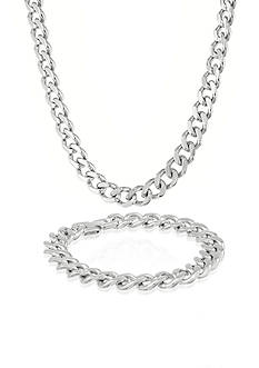Belk & Co. Mens Stainless Steel Necklace and Bracelet Set