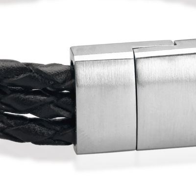 Men: Bracelets Sale: Black Belk & Co. Men's Leather and Stainless Steel Bracelet