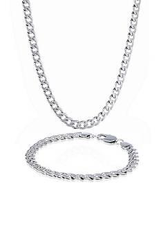 Belk & Co. Men's Stainless Steel Necklace and Bracelet Set
