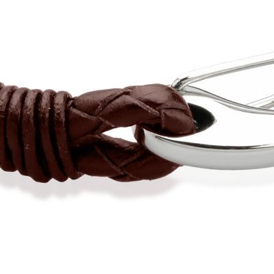 Men: Bracelets Sale: Brown Belk & Co. Men's Stainless Steel and Leather Bracelet