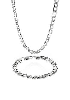 Belk & Co. Men's Stainless Steel Necklace and Bracelet Set