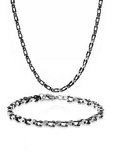 Belk & Co. Mens Stainless Steel Necklace and Bracelet Set