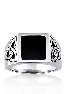 Belk & Co. Men's Stainless Steel and Black Resin Celtic Knot Ring