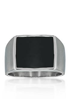 Belk & Co. Men's Stainless Steel and Black Resin Ring