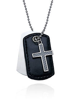 Belk & Co. Men's Stainless Steel Cross and Leather Dog Tag Pendant
