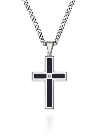 Belk & Co. Men's Stainless Steel Black Resin and Diamond Cross Pendant