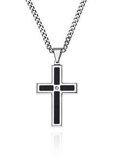 Belk & Co. Men's Stainless Steel Black Resin and Diamond Cross Pendant