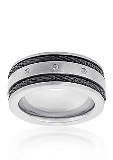 Belk & Co. Men's Stainless Steel Cable Cubic Zirconia Ring