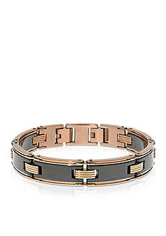 Belk & Co. Men's Stainless Steel and Black Ceramic Bracelet