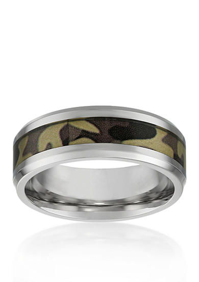 Belk & Co. Men's Stainless Steel Brown Camouflage Ring