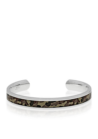 Belk & Co. Men's Stainless Steel Brown Camouflage Bangle