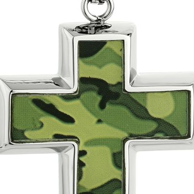 Jewelry & Watches: Necklaces Sale: Green Belk & Co. Men's Stainless Steel Camouflage Cross Pendant