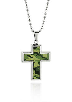 Belk & Co. Men's Stainless Steel Camouflage Cross Pendant