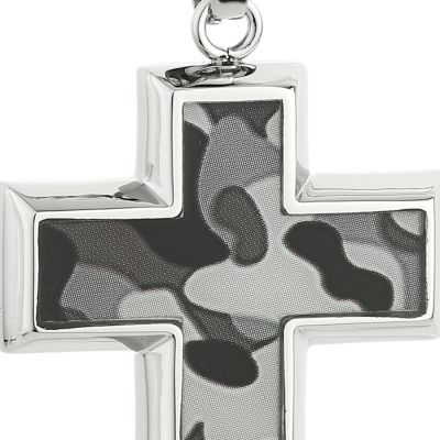 Mens Necklaces: Gray Belk & Co. Men's Stainless Steel Camouflage Cross Pendant