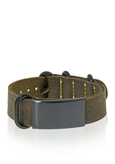 Belk & Co. Men's Leather and Stainless Steel ID Bracelet