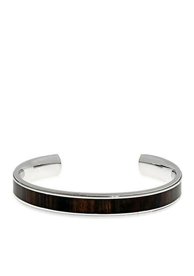 Belk & Co. Men's Stainless Steel and Wood Cuff Bracelet