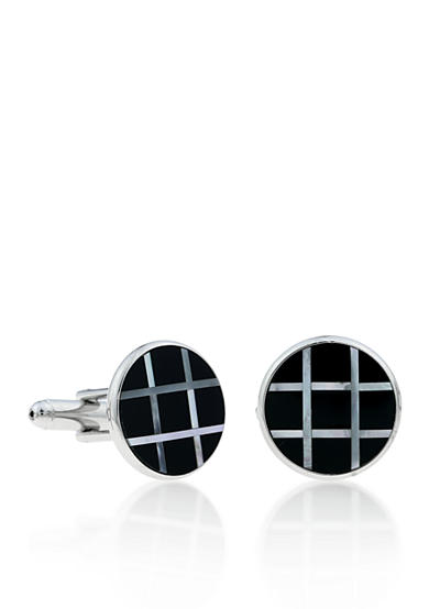 Belk & Co. Mens Stainless Steel Black and Mother of Pearl Cufflinks