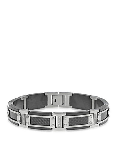 Belk & Co. Men's Stainless Steel Textured Black Carbon Cable Cubic Zirconia Bracelet