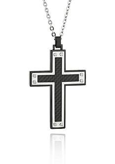 Belk & Co. Men's Stainless Steel Black Carbon Fiber Cross Pendant
