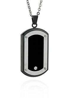 Belk & Co. Men's Stainless Steel Black Resin and Cubic Zirconia Dog Tag Pendant