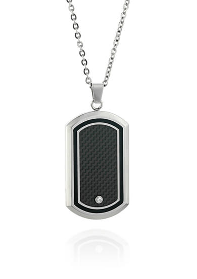 Belk & Co. Men's Stainless Steel Black Resin, Carbon, and Cubic Zirconia Dog Tag Pendant