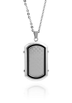Belk & Co. Men's Stainless Steel and Black Resin Dog Tag Pendant